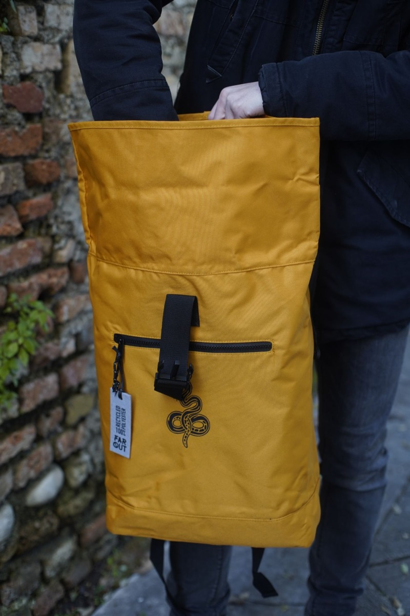 mustard-recycled-roll-top-backpack
